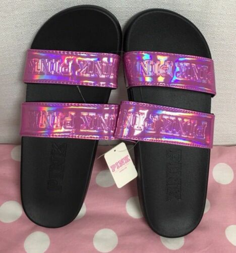 Victoria/'s Secret Pink Iridescent Slides ~ Flip Flop Shoes Size Medium 7-8