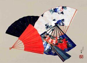 Vintage-Japanese-Art-HOKUSAI-FIVE-FANS-039-CANVAS-ART-PRINT-Poster-8-034-X-12-034