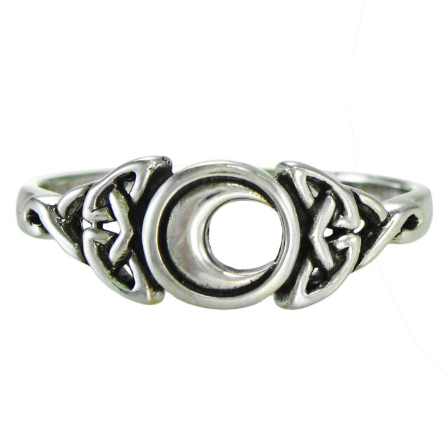 Celtic Triquetra Knot Crescent Moon Ring Lunar Sterling Silver Wiccan sz 4-15