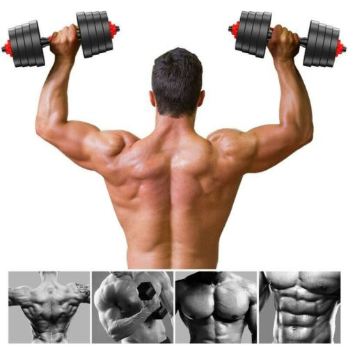 Totall 88 LB Weight Dumbbell Set Adjustable Cap Gym Barbell Plates Body Workout
