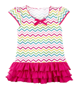White 6-12 Months Pink,Gold Chevron Dress with Ruffles by Baby Ganz Green