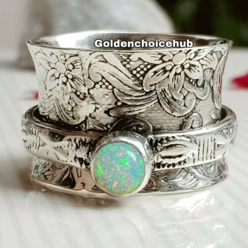 Opal 925 Sterling Silver Wide Band Spinner Ring Jewelry Handmade All Size B-0004