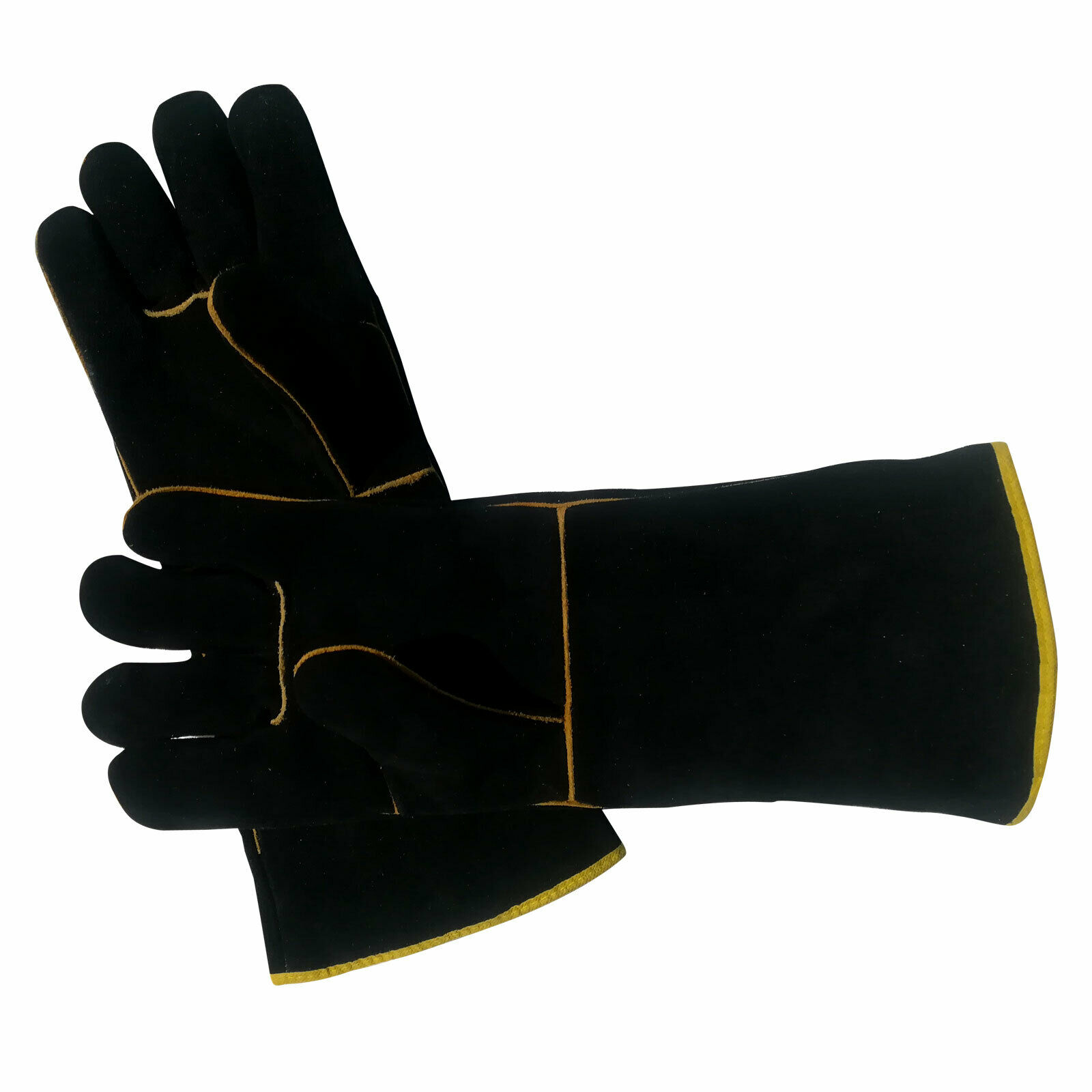 . Heavy Duty Wood Burner Welding Gloves Heat Heating Resistant Leather Stoves