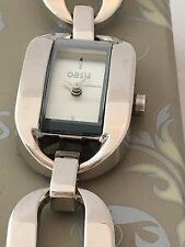 Oasis Ladies Silver White Face Large Silver Link Bracelet Watch