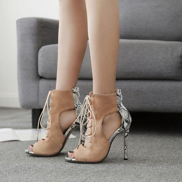 Sandali bottes estivi tacco stiletto 11 cm beige pelle sintetica eleganti 9718