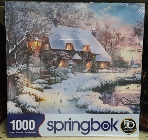 Winter Retreat Tranquil House by Lake 1000pc Springbok Jigsaw Puzzle 33-10852
