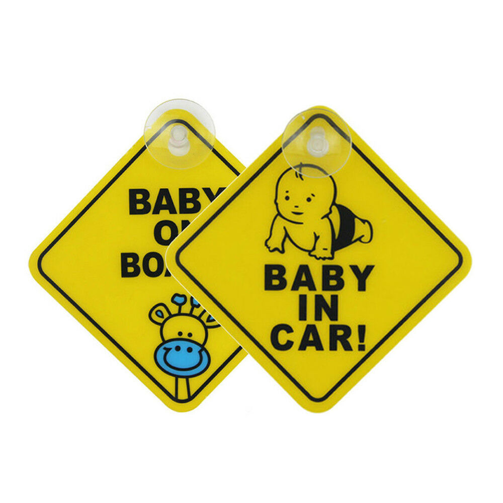 """Biebies /""""Baby On Board/"""" Large Window Safety Suction Cup Car Sign Pack of 2"""