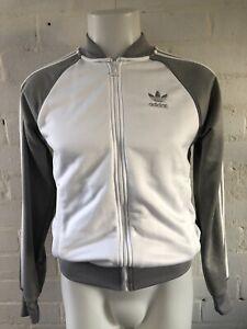 Adidas-Women-039-s-Originals-Track-Top-Size-8-White-Grey-Jacket