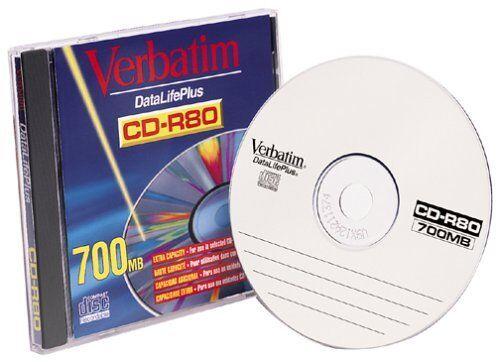 Verbatim 93707 CD-R, 80 Minute, 700MB, 8X (Single)