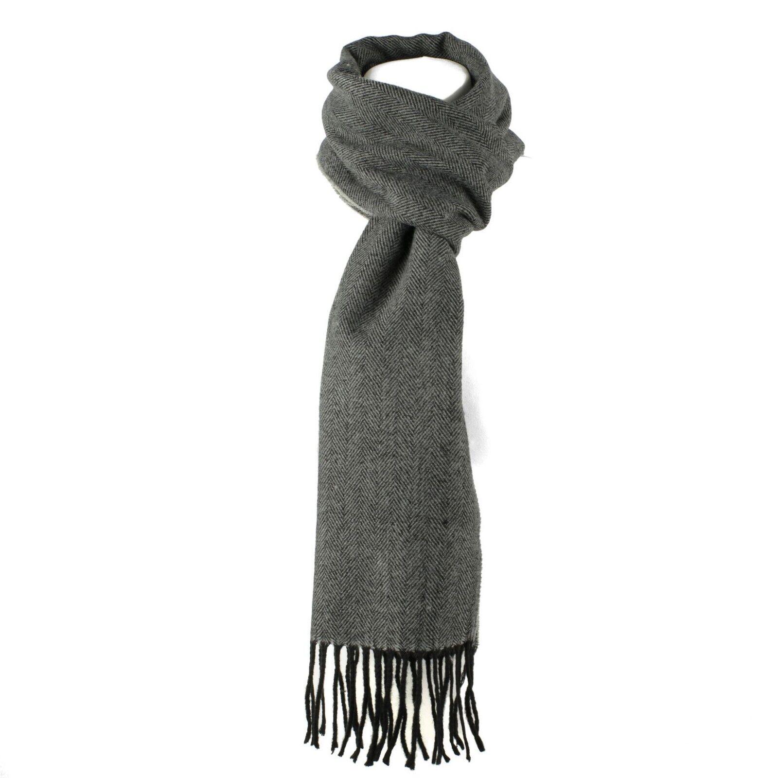 1a8e28bb1ec Luxury Wool Blend Unisex Herringbone Pattern Winter Scarf Dark Grey