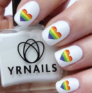 Nail Art Water Transfers Decals Gay Pride Heart S997 Ebay