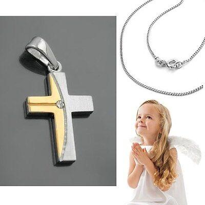 Baby Taufe Kinder Kommunion bicolor Kreuz Anhänger Echt Silber 925 mit Kette