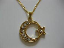 "NEW TURKISH MOON & STAR CZ PENDANT NECKLACE ON 18"" GOLD CHAIN.GREAT GIFT ref G12"