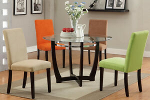 Modern Glass Top Round Table Dining Set Parson Chair Kitchen 4 ...