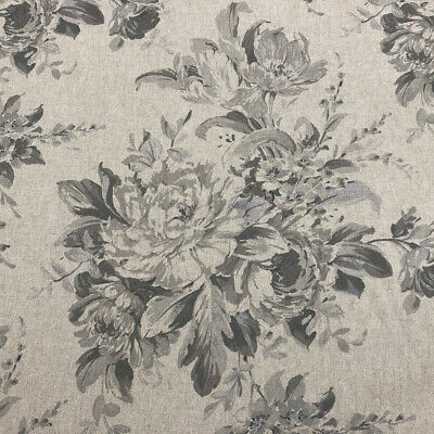 "Double Width 280cm Wide French /""Faded Roses/"" Floral Linen Fabric in Red"