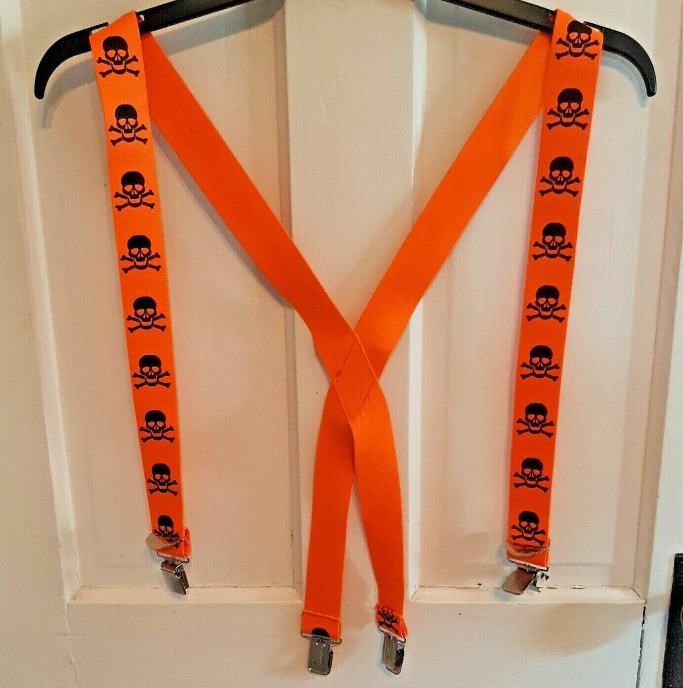 Skeleton Suspenders Orange Black Halloween Costume Skull Crossbones