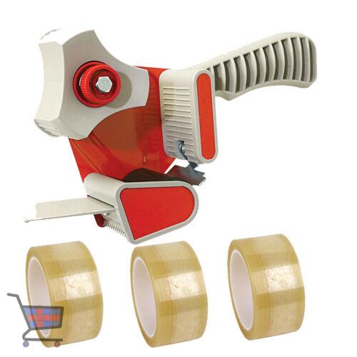 1 X PACKING TAPE GUN DISPENSER 50mm /& 3 X STRONG ROLLS CLEAR TAPE 48MM X 66M NEW