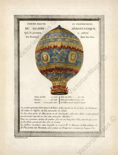 Hot air balloon Montgolfier brothers first historic flight print 1786 art poster