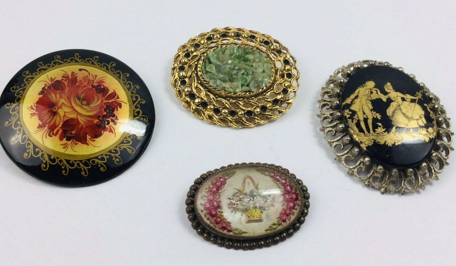 10 Vintage Antique Religious Christmas Holiday Pin Brooches Various Sizes Stones Round Oval Set