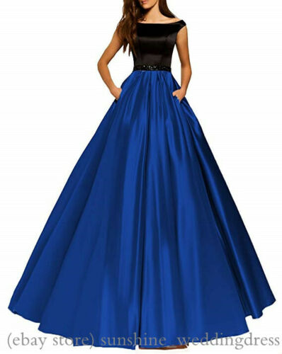 Women Off Shoulder Long Prom Gowns Formal Satin Evening Party Bridesmaid Dresses