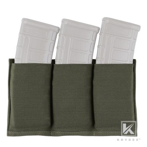 KRYDEX Tactical Triple 5.56 Open Top Mag Pouch Magazine Case MOLLE Ranger Green