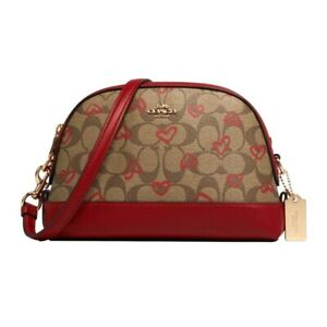 NWT-COACH-Dome-Crossbody-Shoulder-Crayon-Hearts-Love-Canvas-Logo-Red-Gold-91015