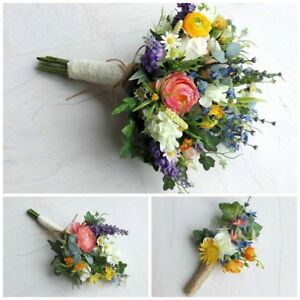 Image Is Loading Wildflower Artificial Wedding Flowers Brides Bouquet Bridesmaid Onhole