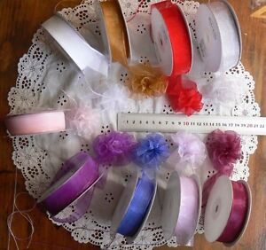 Sheer-Organza-Pull-Bow-Ribbon-22mm-9-Colours-3-5-amp-10-Mtrs-Long-MultiList-CL13