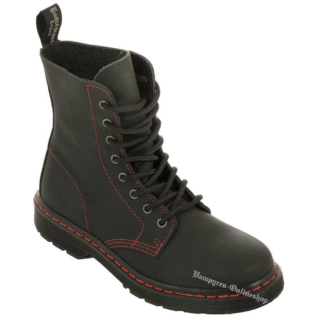 Boots And Braces Easy 8-Loch Basic Matt black rede Naht black black Stiefel Neu