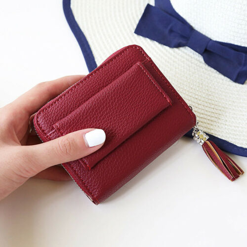 Ladies Soft Leather Zip Coin Purse Credit Card ID Holder With RFID Blocking US