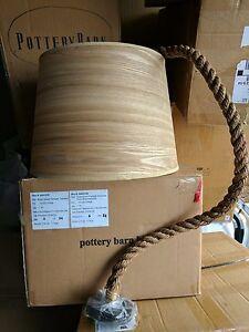 Nib pottery barn kids wood veneer drum pendant light ebay image is loading nib pottery barn kids wood veneer drum pendant mozeypictures Images