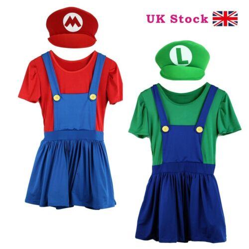 Mario//Luigi Costume Adult Womens Super Plumber Bros Halloween COS Fancy Dress /&.