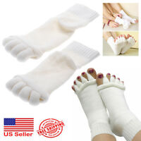 1 Pair Yoga Gym Massage Five Toe Separator Socks Foot Alignment Pain Relief Hot