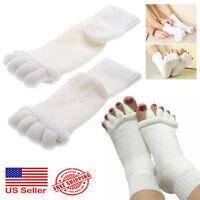 1 Pair Yoga Gym Massage Five Toe Separator Socks Foot Alignment Pain Relief Hot