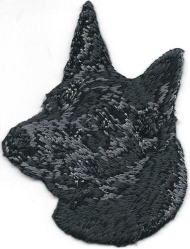 """2/"""" x 2 1//2/"""" Black Australian Kelpie Portrait Dog Breed Embroidery Patch"""