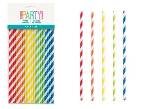 10-40 Multi Coloured Milkshake Smoothies Paper Drinking Straws Party Striped