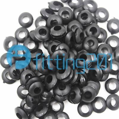 50 Pcs Rubber Cable Wire Cord Grommets Black 4mm x 9.5mm