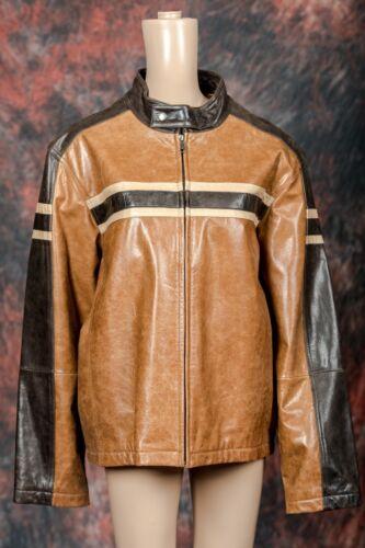 Multi- Brown Leather Racing Jacket