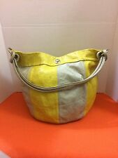 Maurizio Taiuti Yellow & Gray 100% Italian Leather Hobo Purse Handbag