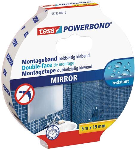 Tesa Powerbond Mirror Doppelseitiges Montageband Spiegelklebeband 5 m x 19 mm