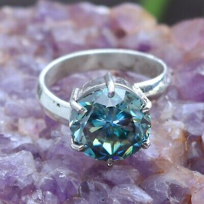 Anniversary Gold Ring 3 TCW Round cut Tint Blue Brilliant Moissanite Engagement Ring Sterling Silver,Moissanite ring Promise ring 14K Gold