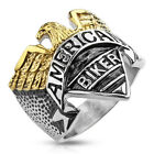 Stainless Steel Eagle Logo Biker Style Wide Men's Cast Ring Band Size 9 to 15