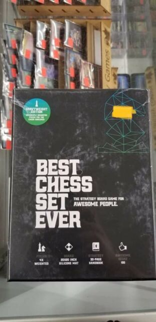 Best Chess Set Ever XL - Quadruple Weight 4X Pieces & Black Silicone Board