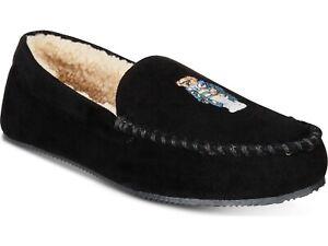 Polo-Ralph-Lauren-Mens-Dezi-Micro-Suede-Polo-Bear-Slippers-Black-Size-12-13