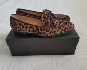 45983b11c66 Details about WOMEN S 8.5 9 J CREW ACADEMY LOAFERS IN CALF HAIR LEOPARD  PRINT SHOES