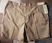 Nwts Men's Palmland Club Khaki Flat Front Shorts Sz 44 Inseam 8