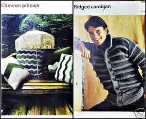 Crochet-Patterns-Cardigan-Sweater-Men-Infant-Kids-and-Chevron-Pillow-New-Vintage