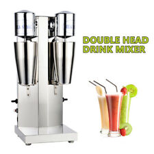 110v Commercial Stainless Milk Shake Machine Double Head Drink Mixer 18000rmp