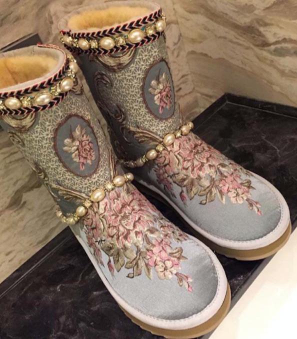 Womens Sheepskin Pearl Rhinestones Warm Snow Mid Calf Boots Winter Shoes Fashion