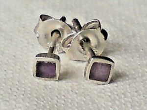 Aktiv Sterling Silver & Amethyst Small Square 3mm Stud Earrings Only £6.50 Nwt üBereinstimmung In Farbe